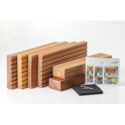 Vzorník terasových desek - bangkirai, bukit, garapa, kempas + vzorky olejů OSMO